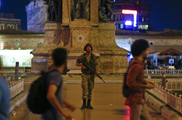 A Turkish military stands guard in the Taksim Square in Istanbul, Turkey, July 15, 2016. REUTERS/Murad Sezer